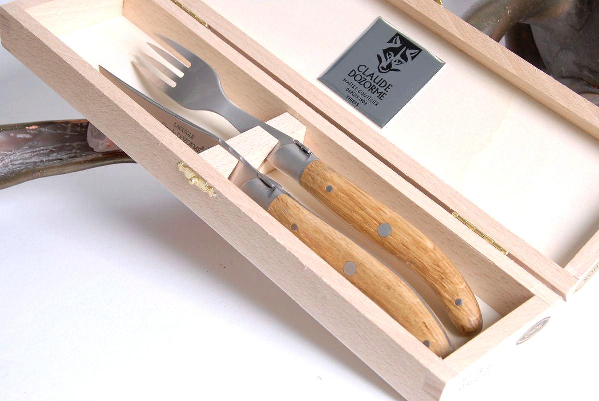 Original laguiole - Steakmesser Claude Dozorme Laguiole 2-tlg. Singlebesteck Bubingaholz, brosse