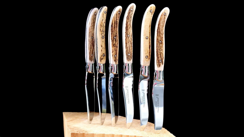 Original laguiole - Claude Dozorme Laguiole 6-teilig, Steakmesserset, Hirschhorn-Kruste