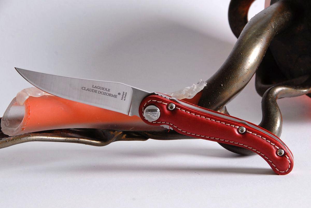 Original laguiole - Taschenmesser Claude Dozorme Laguiole Edition Baroudeur Leder rot