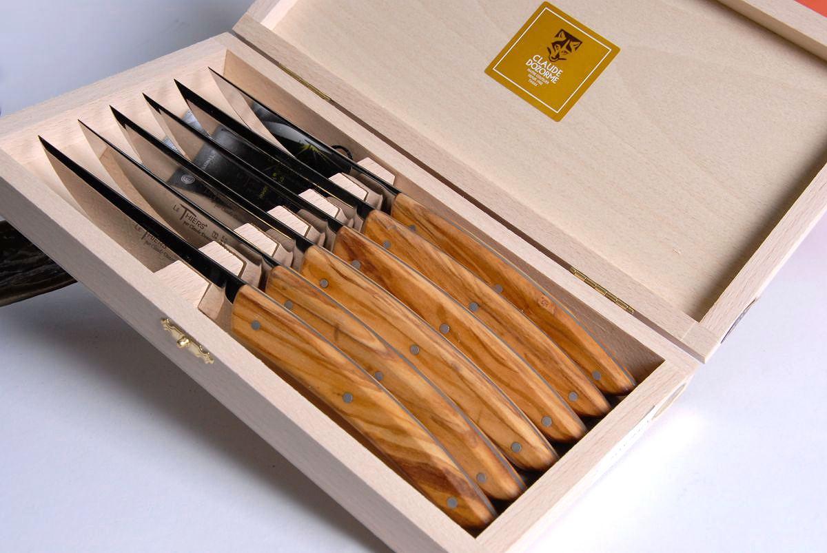 Original laguiole - Claude Dozorme Thiers 6-teilig. Steakmesser Set, Olivenholz