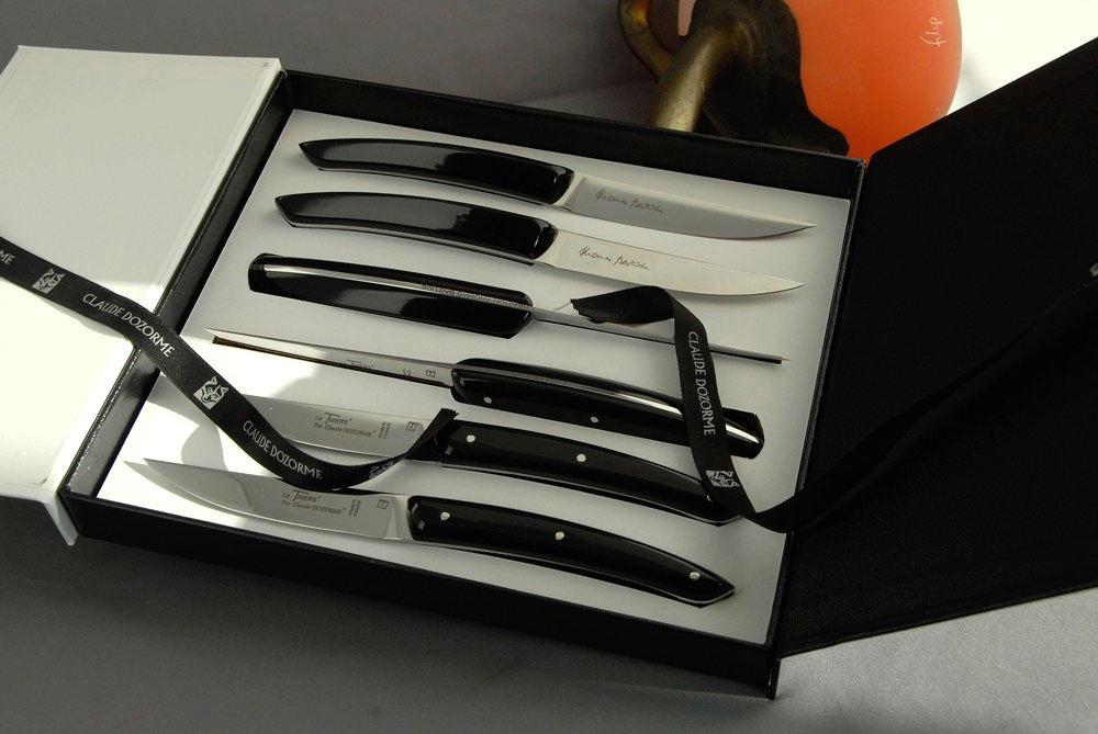 Original laguiole - Claude Dozorme Thiers 6-tlg. Steakmesserset Thomas Bastide noir