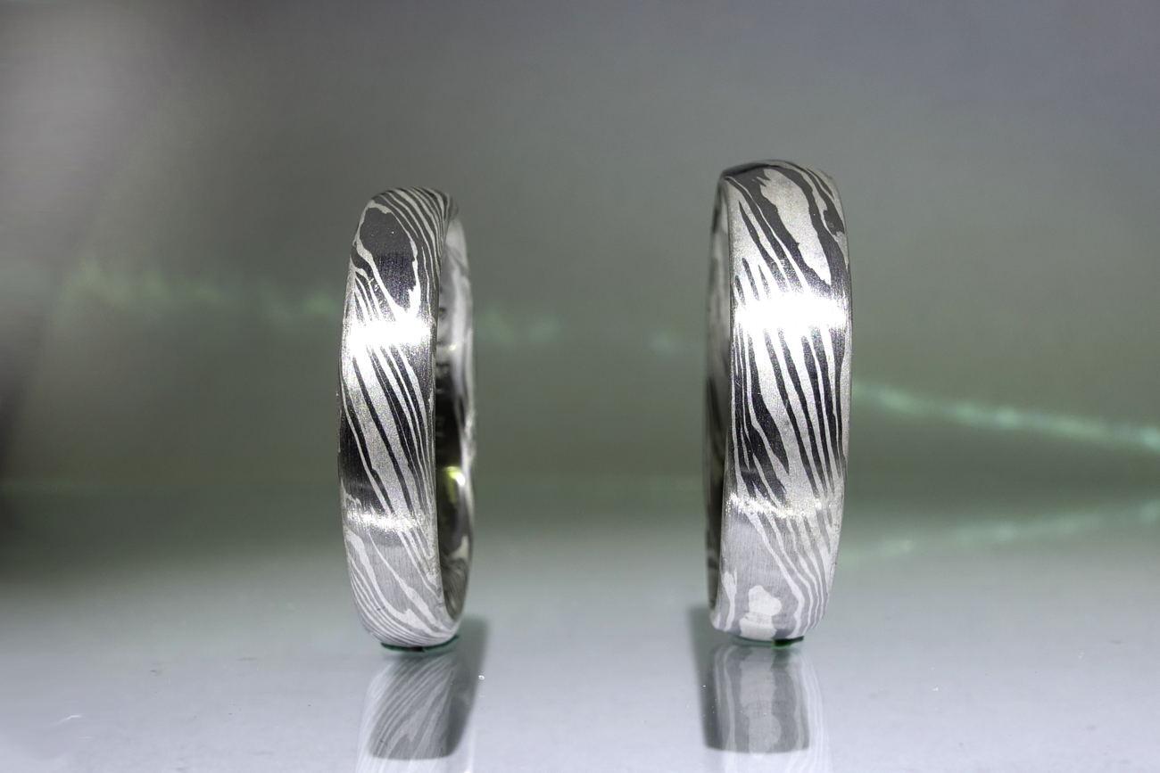 Original laguiole - Damaszierte Ringe aus Silber und Paladium direkt vom Goldschmied