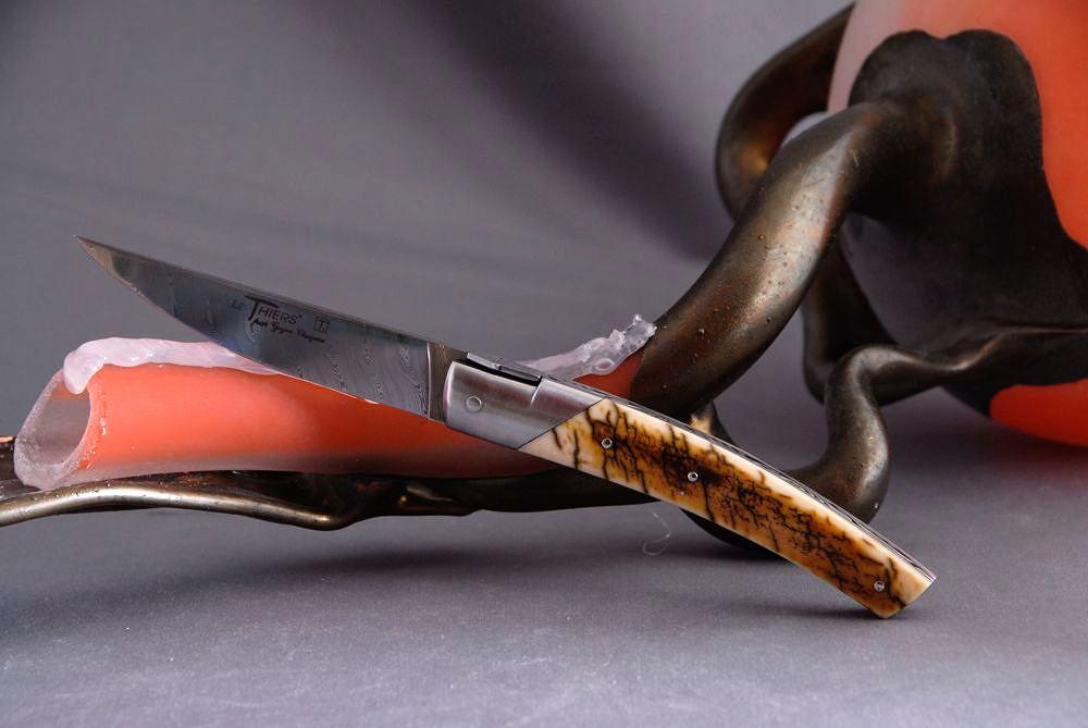 Original laguiole - Taschenmesser GOYON-CHAZEAU, Thiers, Damast, Mammut Elfenbeinkruste