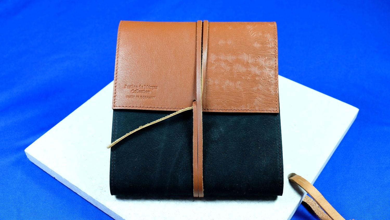Original laguiole - Justine de Merges Collection: Exklusives 2-farbiges Lederetui CHARENTE, für bis zu 4 Taschenmesser