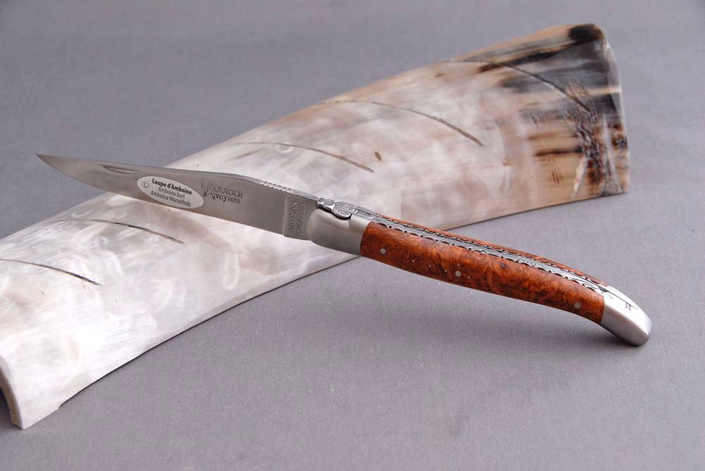 Original laguiole - Taschenmesser Laguiole Aveyron, guillochierte Platine, Brosse, Amboina-Holz