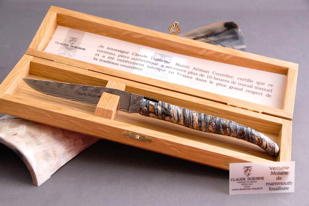 Original laguiole - Taschenmesser Laguiole Claude Dozorme, Bijou, Damast, Mammutbackenzahn, la meer, Plein, Double Platines