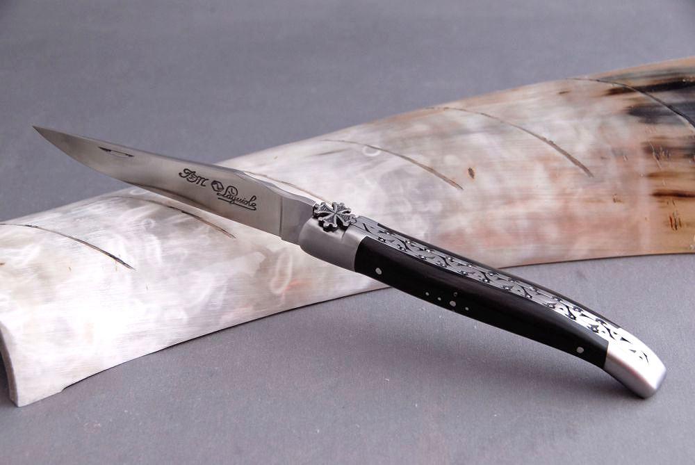 Original laguiole - Taschenmesser Laguiole du Barry, Sonderedition, okzitanisches Kreuz, Büffel
