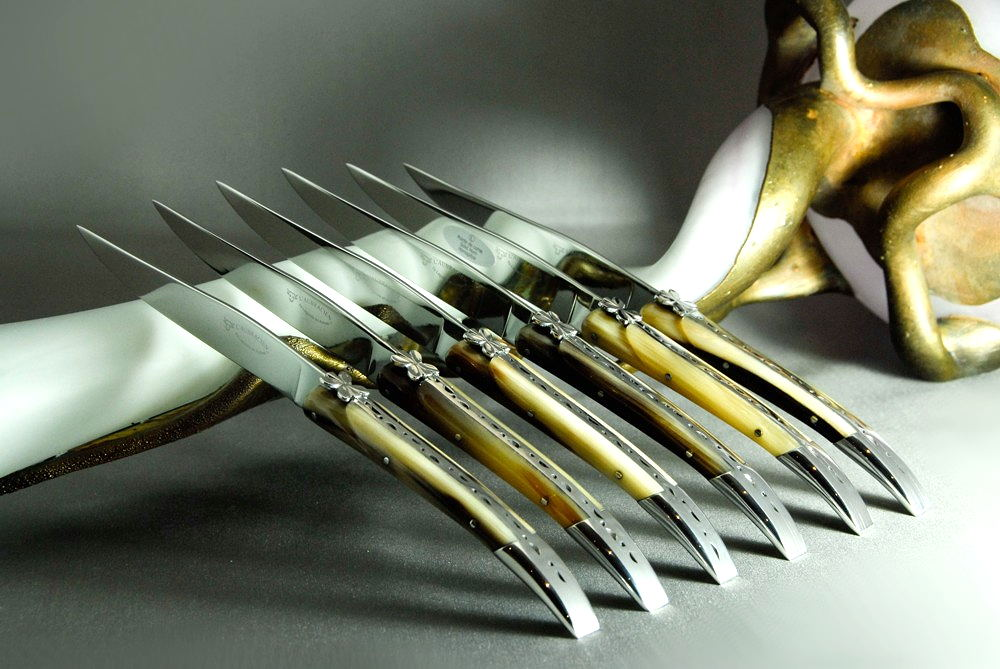 Original laguiole - Laguiole en Aubrac 6-teilig Steakmesser Set Aubracien Hornspitze