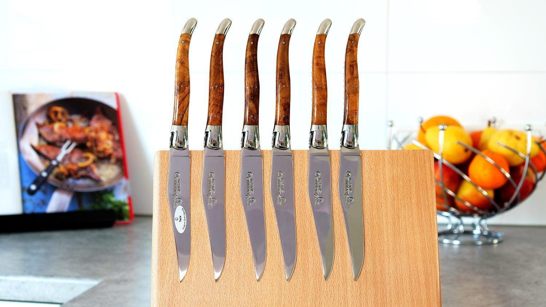 Laguiole en Aubrac 6-teilig, Steakmesser Set, Teakholz, brillant