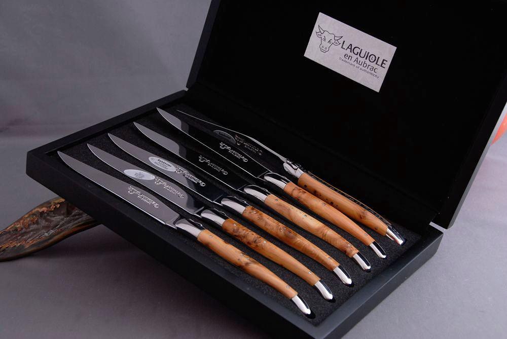 Original laguiole - Laguiole en Aubrac 6-teilig, Steakmesser Set Brillant, Wacholder