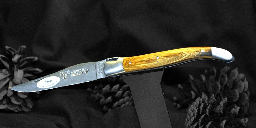 Original laguiole - Taschenmesser Laguiole en Aubrac, Brosse, Olivenholz, guillochierte Biene