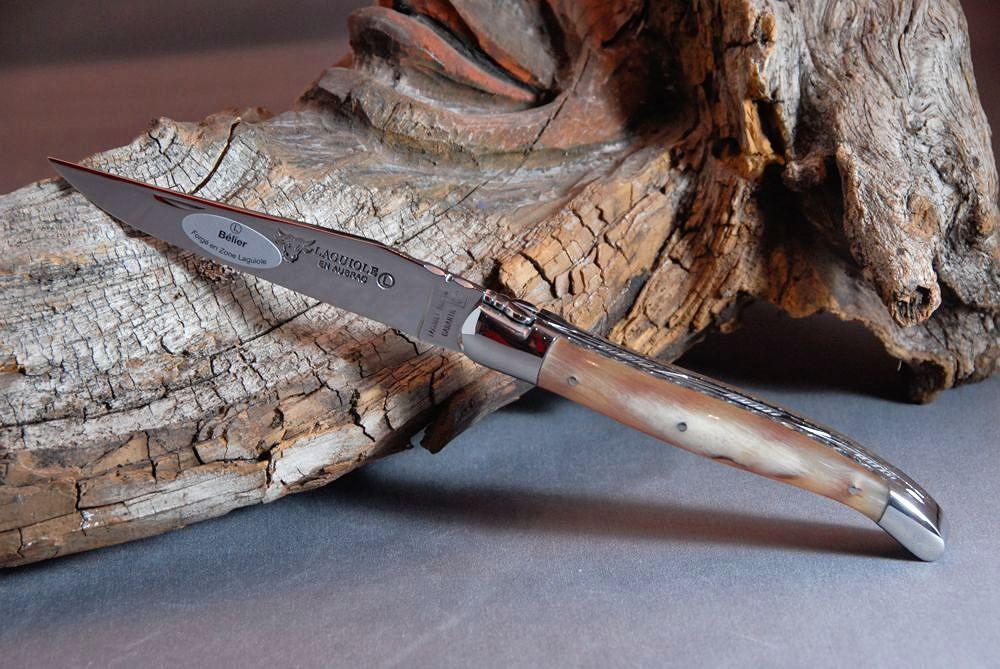 Original laguiole - Taschenmesser Laguiole en Aubrac, Double Platines, Brillant Widder Horn Kruste