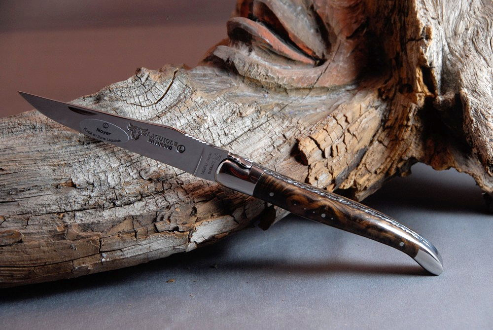 Original laguiole - Taschenmesser Laguiole en Aubrac, guillochierte Biene, Brillant, Nussbaumwurzel