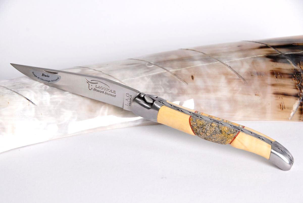 Original laguiole - Taschenmesser Laguiole Honore Durand, 14C28, Buchsbaum mit Ahorn-Wurzelholz-Einlage