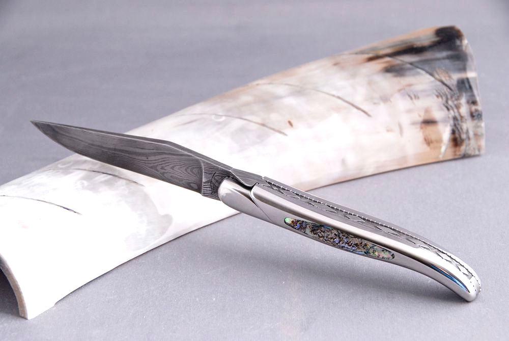 Original laguiole - Taschenmesser Laguiole Honore Durand, Damast, Abalone, Einzelanfertigung