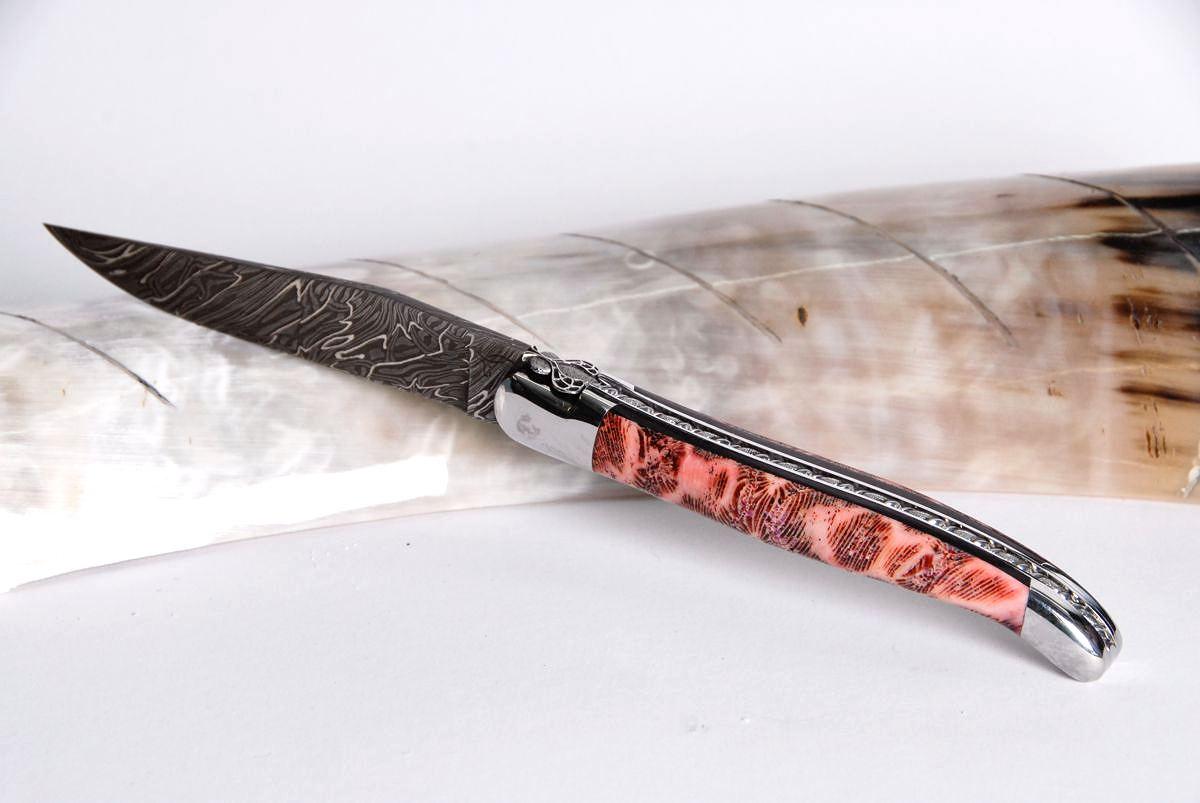 Original laguiole - Taschenmesser Laguiole Honore Durand, Damast, rosa-rote Koralle, Empreinte, guillochierte Biene, brillant
