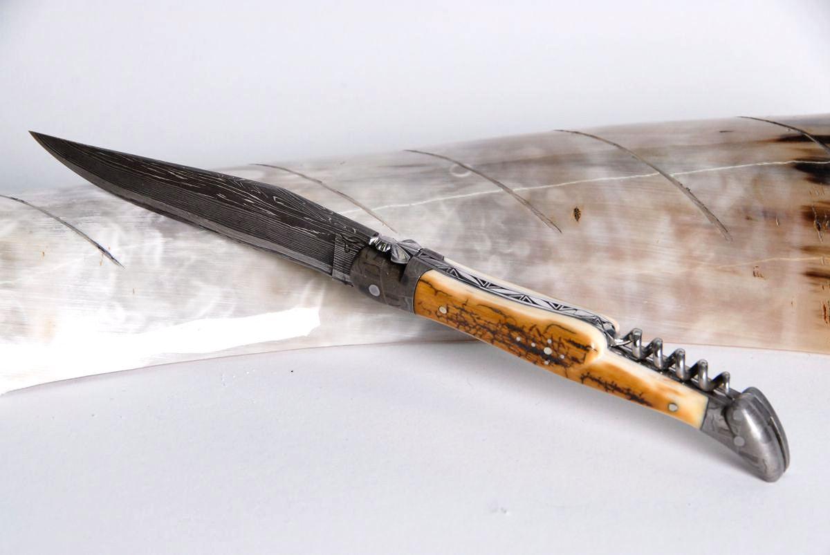 Original laguiole - Taschenmesser Laguiole Honore Durand, Damast, Mammut-Kruste, Korkenzieher, guillochierte Biene, brillant