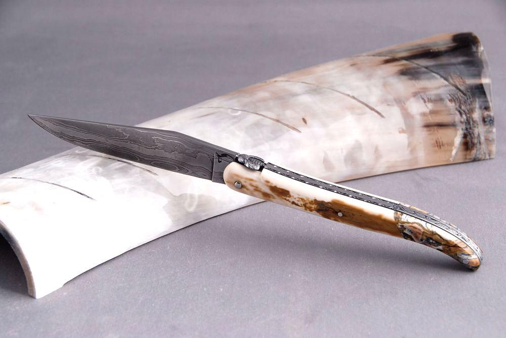 Original laguiole - Taschenmesser Laguiole Honore Durand, Damast spécial, Mammut-Kruste / Backenzahn, Einzelanfertigung