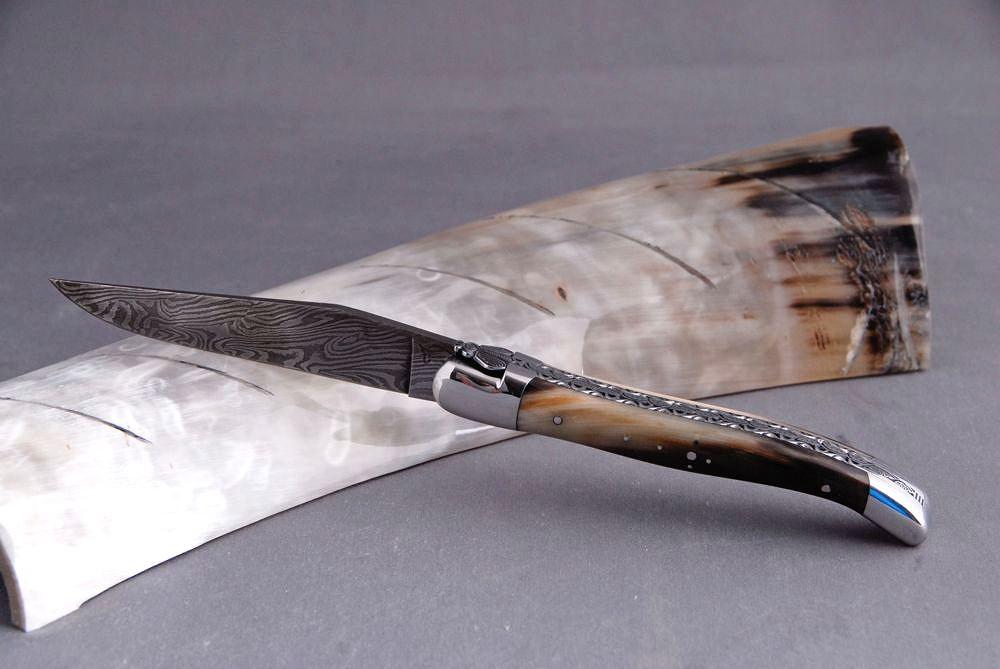 Original laguiole - Taschenmesser Laguiole Honore Durand, Damast, Hornspitze, Einzelanfertigung