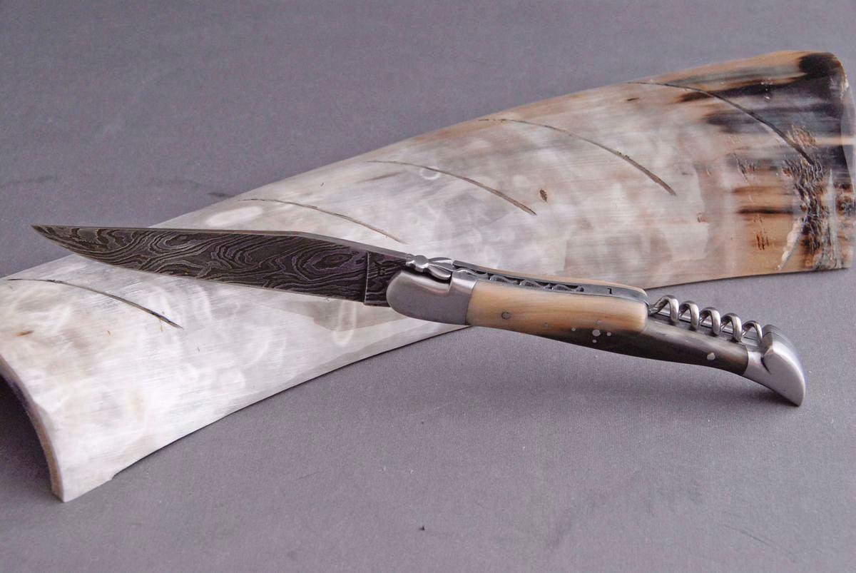 Original laguiole - Taschenmesser Laguiole Honore Durand, Damast, Hornspitze Korkenzieher