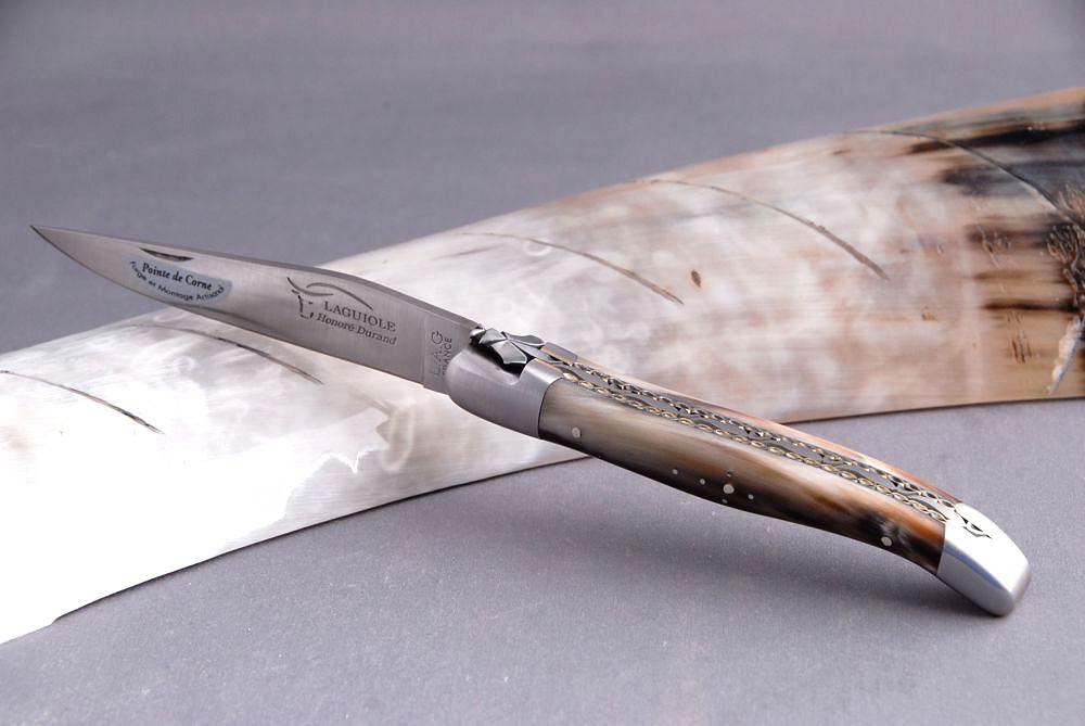 Original laguiole - Taschenmesser Laguiole Honore Durand, Double Platines,14C28, Hornspitze, Einzelanfertigung