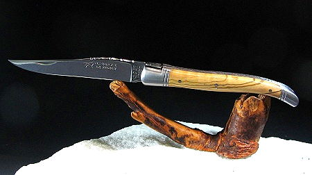 Original laguiole - Taschenmesser Laguiole Le Fidèle CISELE DAMAST mit 2 echten Saphiren, brosse