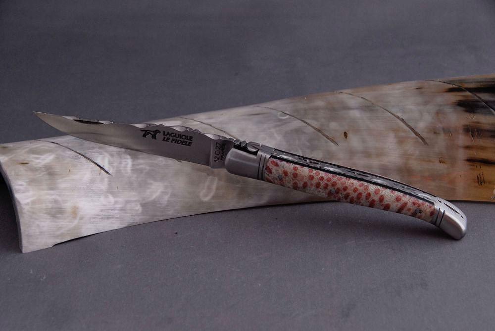 Original laguiole - Taschenmesser Laguiole Le Fidèle Cisele Koralle désert feu, brosse, guilochierte Biene