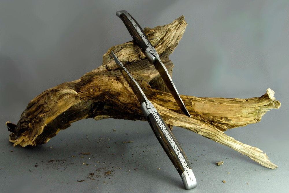 Original laguiole - Taschenmesser Laguiole Le Fidèle CISELE Palmenholz, Brosse, guillochierte Biene