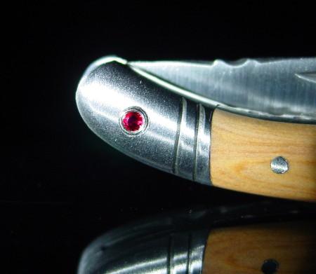 Original laguiole - Taschenmesser Laguiole Le Fidèle CISELE Wachholder mit 2 echten Rubinen, brosse