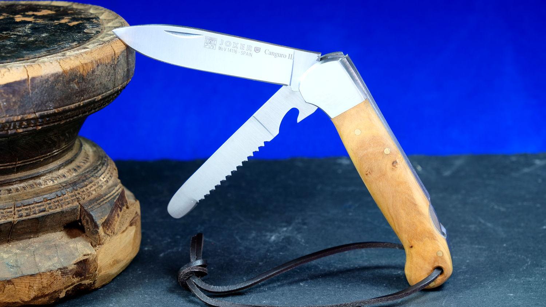 Original laguiole - Multifunktions-Taschenmesser JOKER CANGURO III,  8 cm, Olivenholz, Backlock-Arretierung