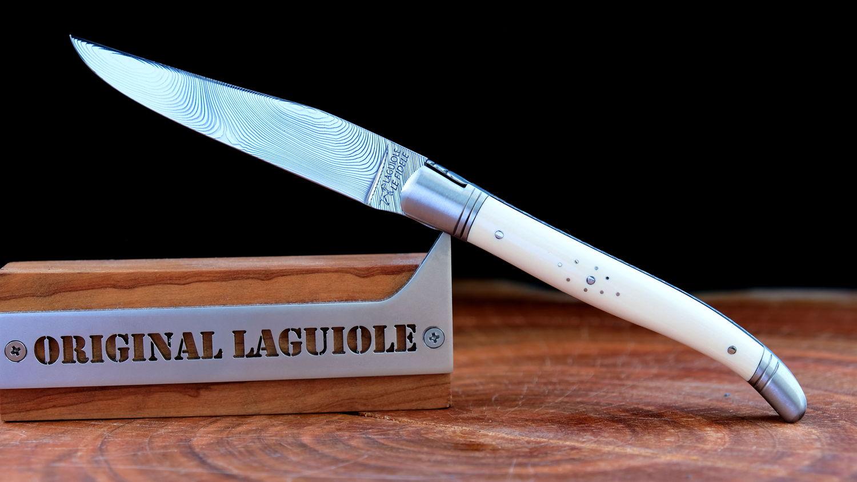 Original laguiole - Taschenmesser Laguiole Le Fidèle CISELE DAMAST 120 Lagen Mammut Stoßzahn