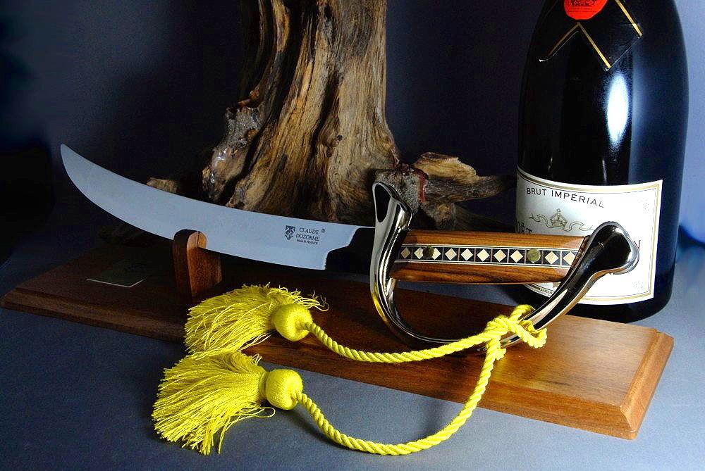 Original laguiole - Claude Dozorme Laguiole hochwertiger Champagnersäbel inkl. Holzschatulle und  Ständer, Holzgriff