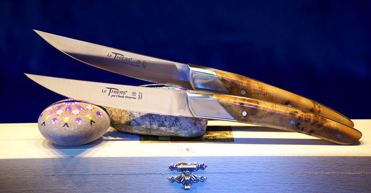 Original laguiole - Steakmesserset Thiers Art Deco, Claude Dozorme, Wacholder, brosse