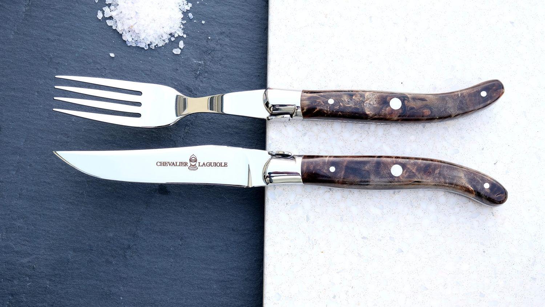 Steakmesserset Laguiole Chevalier, grey Seraphin, stabilisierter Pappelholz, brillant, Messer+Gabel