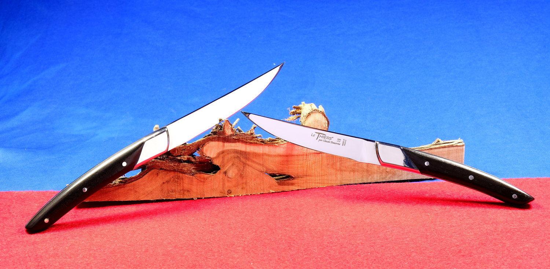 Original laguiole - Steakmesserset Thiers Art Deco, Claude Dozorme, Ebenholz