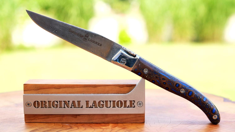 Original laguiole - Taschenmesser Laguiole Chevalier Edition Aveline, Kaktusbaum, Damast, Drop9-System, brosse