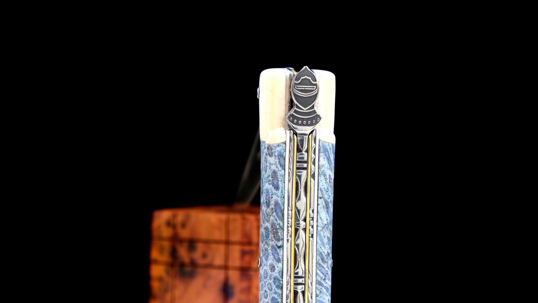 Original laguiole - Taschenmesser Laguiole Chevalier, Edition Black Knight, Koralle/Knochen, 14C28, brosse, Plein