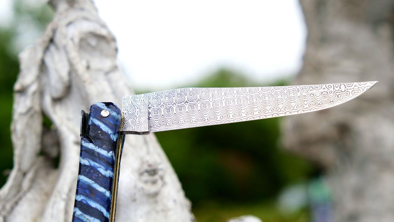 Original laguiole - Taschenmesser Laguiole Chevalier, Edition Gawain, Mammutbackenzahn blau, Damastklinge, Plein
