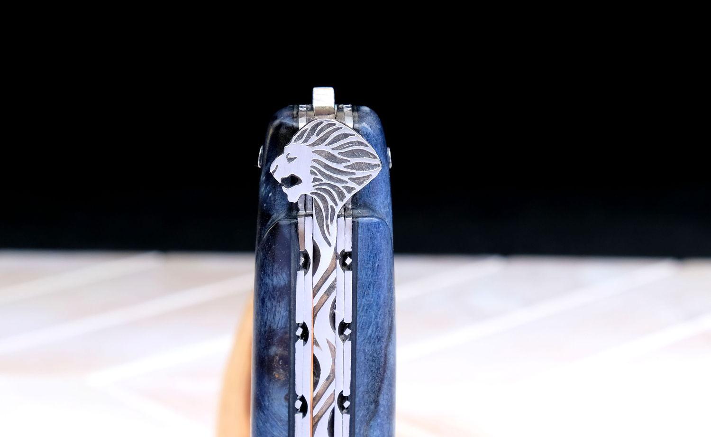 Original laguiole - Taschenmesser Laguiole du Barry, BLUE LION, Pappelholz,double Platines, brosse, Plein