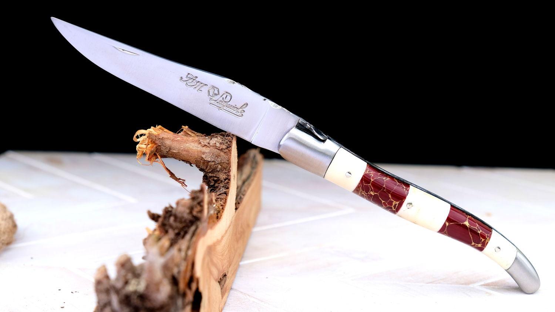 Original laguiole - Taschenmesser Laguiole du Barry, Collage, brosse, rekonstituierter Stein/Knochen, guillochierte Biene