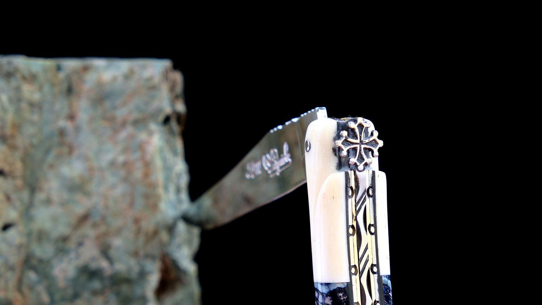 Original laguiole - Taschenmesser Laguiole du Barry, Edition Blue Occitane, Mammutbackenzahn/Knochen, double platines, Plein, brillant