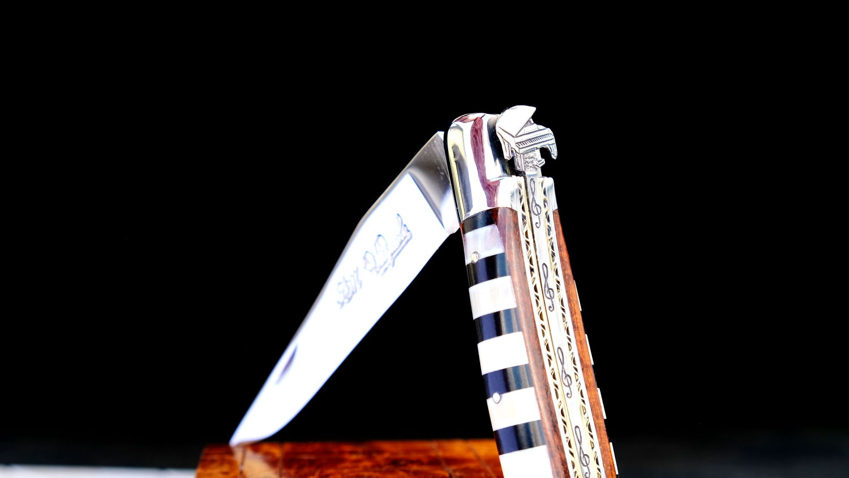Original laguiole - Taschenmesser Laguiole du Barry, Edition PIANO, Knochen/Ebenholz, tripple platines, brillant