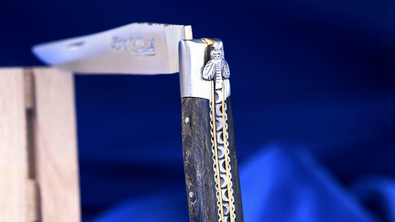 Original laguiole - Taschenmesser Laguiole du Barry, GoldStone, Carbon mit Goldfäden, double platines