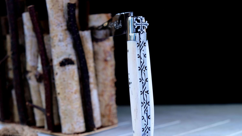 Original laguiole - Taschenmesser Laguiole du Barry, Sonderedition, okzitanisches Kreuz, OS, Knochen, brillant, double platines