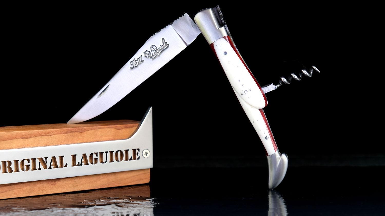 Original laguiole - Taschenmesser Laguiole du Barry, WINOS 1, Korkenzieher, Staminaholz/Knochen, guillochierte Biene, brosse