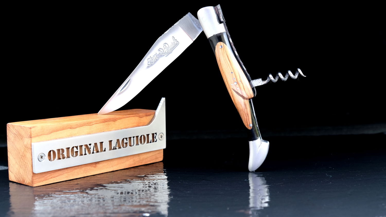Original laguiole - Taschenmesser Laguiole du Barry, WINOS 3, Korkenzieher, Ebenholz/Olivenholz, guillochierte Biene, brosse