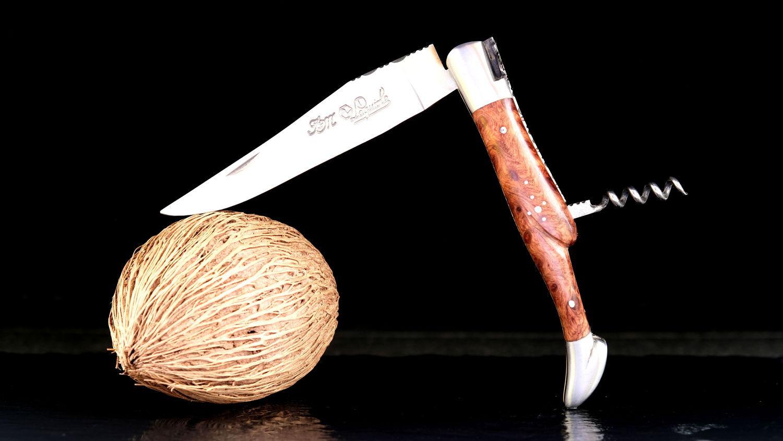 Original laguiole - Taschenmesser Laguiole du Barry, WINOS 4, Korkenzieher, Thuya, guillochierte Biene, brosse