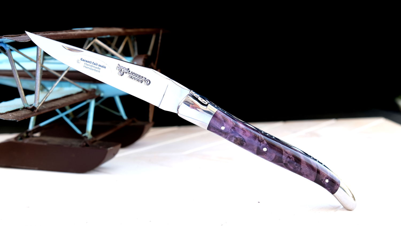 Original laguiole - Taschenmesser Laguiole en Aubrac, guillochierte Biene, Brillant, Rosskastanie-Knorre violett