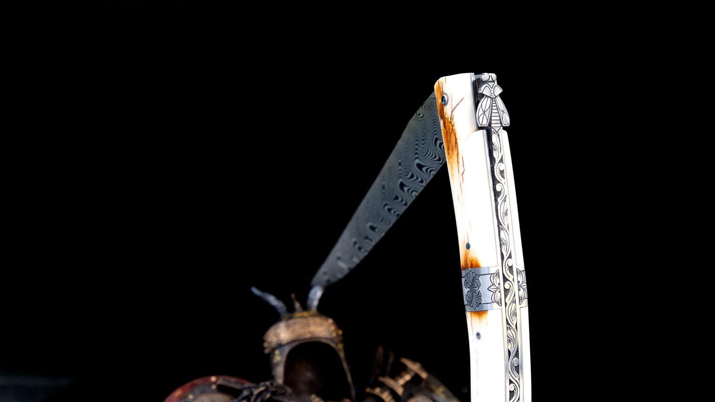Original laguiole - Taschenmesser Laguiole en Aubrac, Pierre Martin, MIKE 4, Damast, Mammutstoßzahn, Plein, guilochierte Biene
