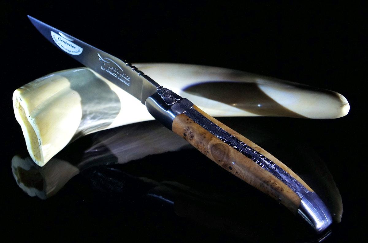 Original laguiole - Taschenmesser Laguiole Honore Durand, Edition la feuille, Wacholder,14c28